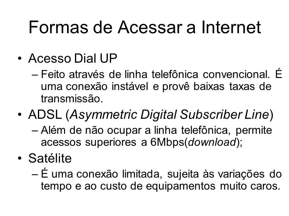 Formas de Acessar a Internet Acesso Dial UP –Feito através de linha telefônica convencional. É uma conexão instável e provê baixas taxas de transmissã