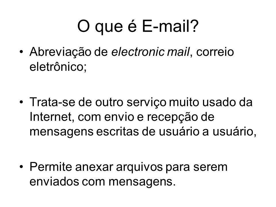 O que é E-mail? Abreviação de electronic mail, correio eletrônico; Trata-se de outro serviço muito usado da Internet, com envio e recepção de mensagen