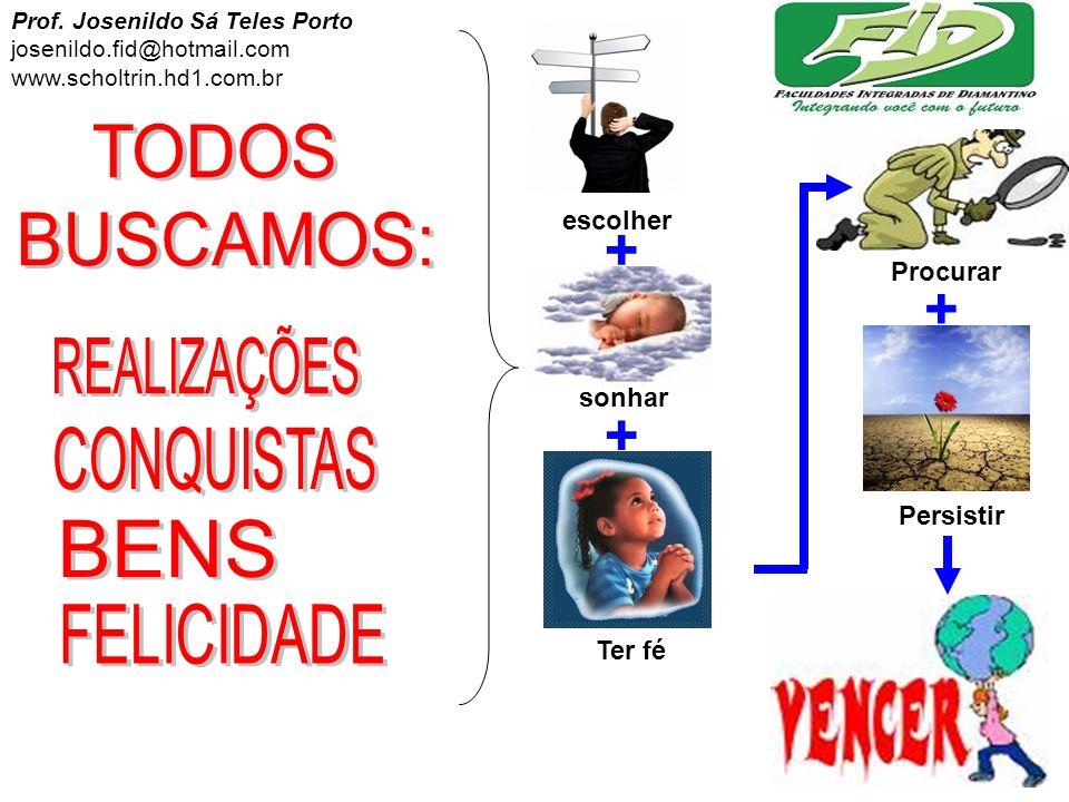 sonhar Procurar escolher Ter fé + + + Persistir Prof. Josenildo Sá Teles Porto josenildo.fid@hotmail.com www.scholtrin.hd1.com.br