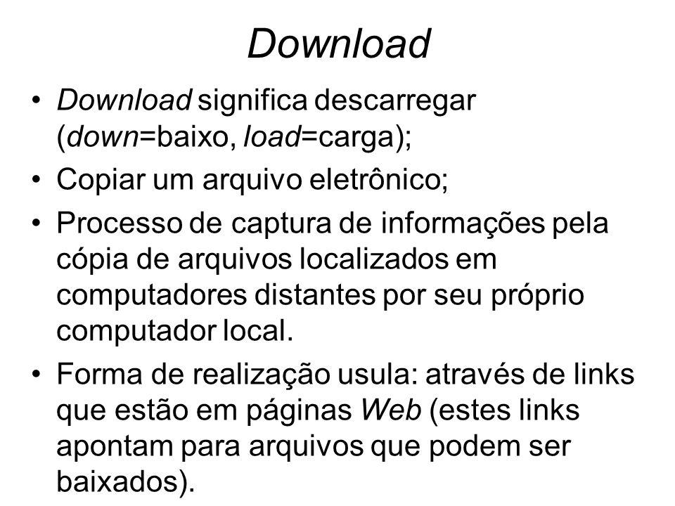 Download Download significa descarregar (down=baixo, load=carga); Copiar um arquivo eletrônico; Processo de captura de informações pela cópia de arqui