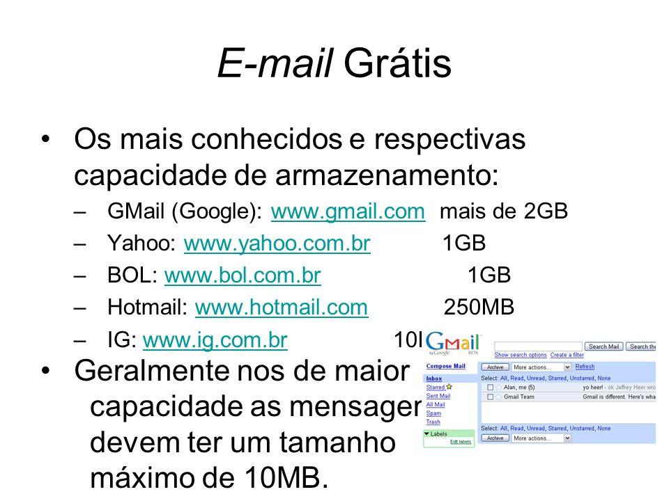 E-mail Grátis Os mais conhecidos e respectivas capacidade de armazenamento: –GMail (Google): www.gmail.com mais de 2GBwww.gmail.com –Yahoo: www.yahoo.