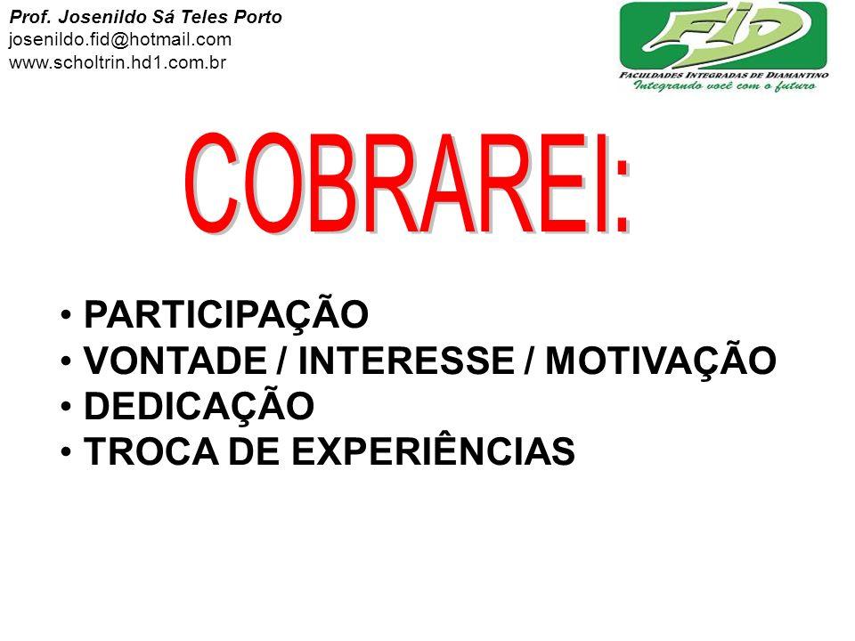 PARTICIPAÇÃO VONTADE / INTERESSE / MOTIVAÇÃO DEDICAÇÃO TROCA DE EXPERIÊNCIAS Prof. Josenildo Sá Teles Porto josenildo.fid@hotmail.com www.scholtrin.hd