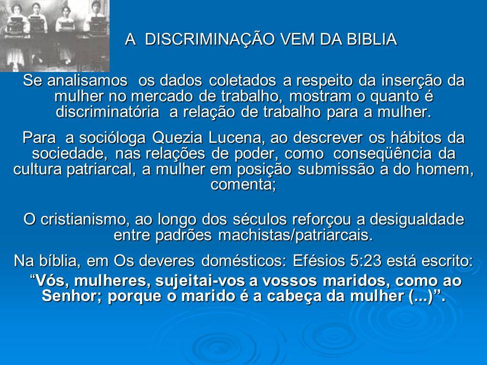 A DISCRIMINAÇÃO VEM DA BIBLIA Se analisamos os dados coletados a respeito da inserção da mulher no mercado de trabalho, mostram o quanto é discriminatória a relação de trabalho para a mulher.