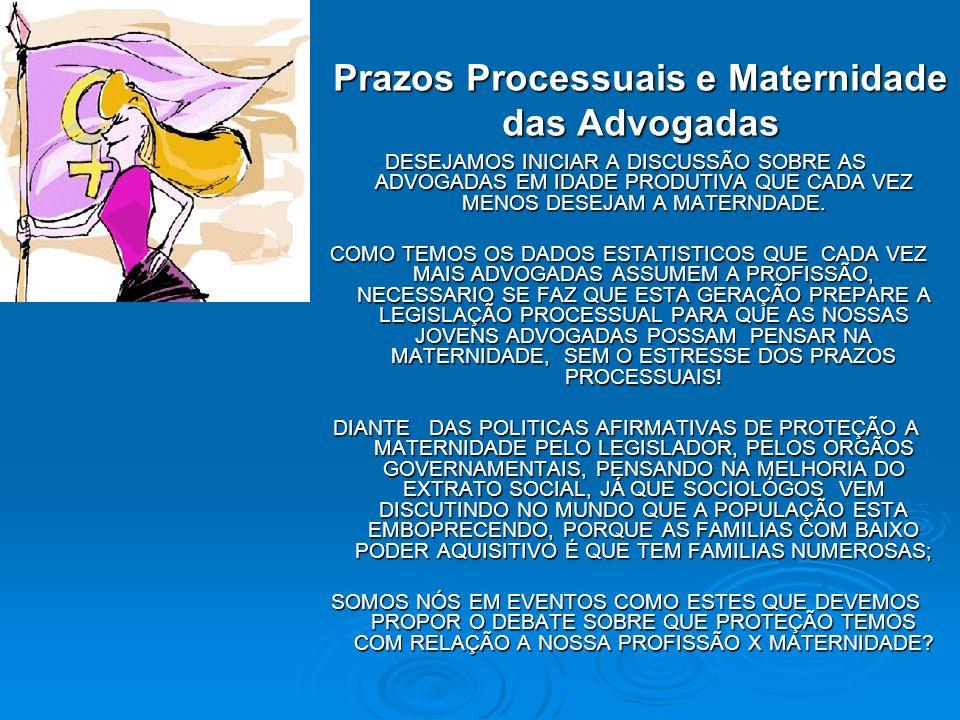 Prazos Processuais e Maternidade das Advogadas DESEJAMOS INICIAR A DISCUSSÃO SOBRE AS ADVOGADAS EM IDADE PRODUTIVA QUE CADA VEZ MENOS DESEJAM A MATERN