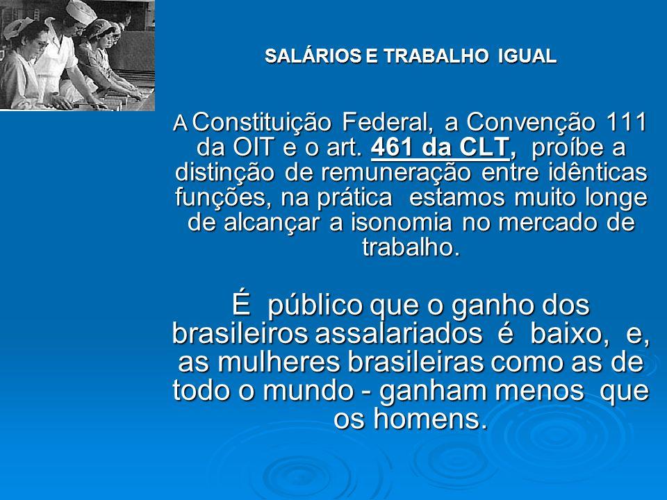 SALÁRIOS E TRABALHO IGUAL A Constituição Federal, a Convenção 111 da OIT e o art. 461 da CLT, proíbe a distinção de remuneração entre idênticas funçõe