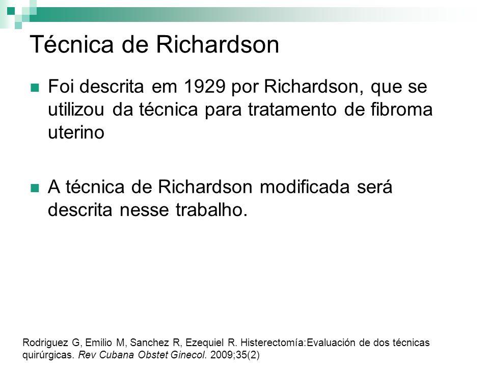 Técnica de Richardson Foi descrita em 1929 por Richardson, que se utilizou da técnica para tratamento de fibroma uterino A técnica de Richardson modif