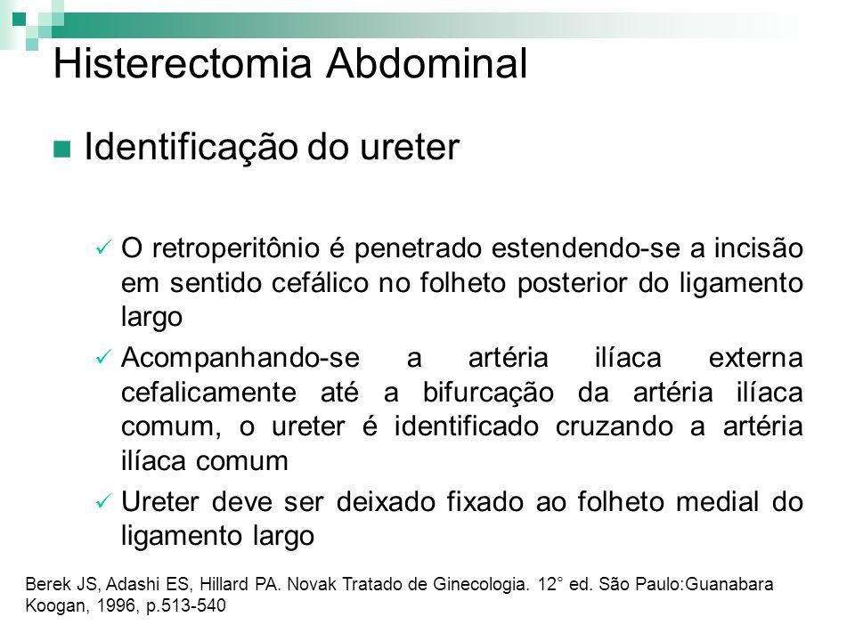 Histerectomia Abdominal Identificação do ureter O retroperitônio é penetrado estendendo-se a incisão em sentido cefálico no folheto posterior do ligam