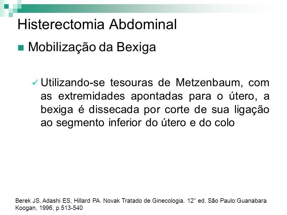 Histerectomia Abdominal Mobilização da Bexiga Utilizando-se tesouras de Metzenbaum, com as extremidades apontadas para o útero, a bexiga é dissecada p
