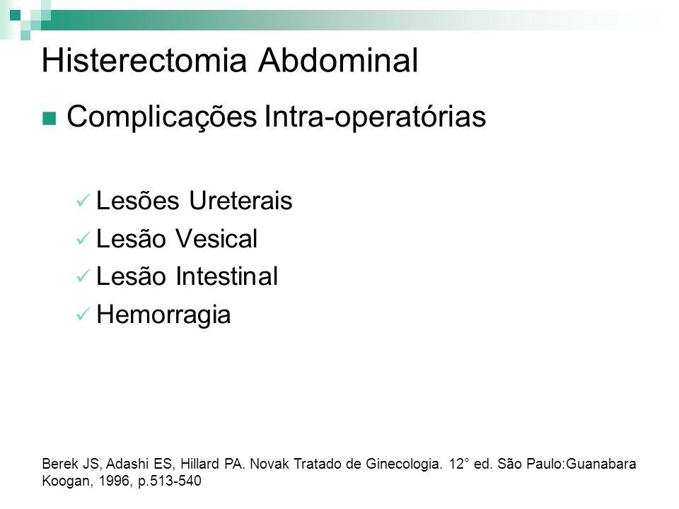 Histerectomia Abdominal Complicações Intra-operatórias Lesões Ureterais Lesão Vesical Lesão Intestinal Hemorragia Berek JS, Adashi ES, Hillard PA. Nov