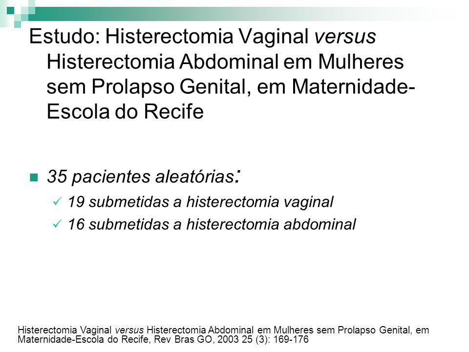Estudo: Histerectomia Vaginal versus Histerectomia Abdominal em Mulheres sem Prolapso Genital, em Maternidade- Escola do Recife 35 pacientes aleatória