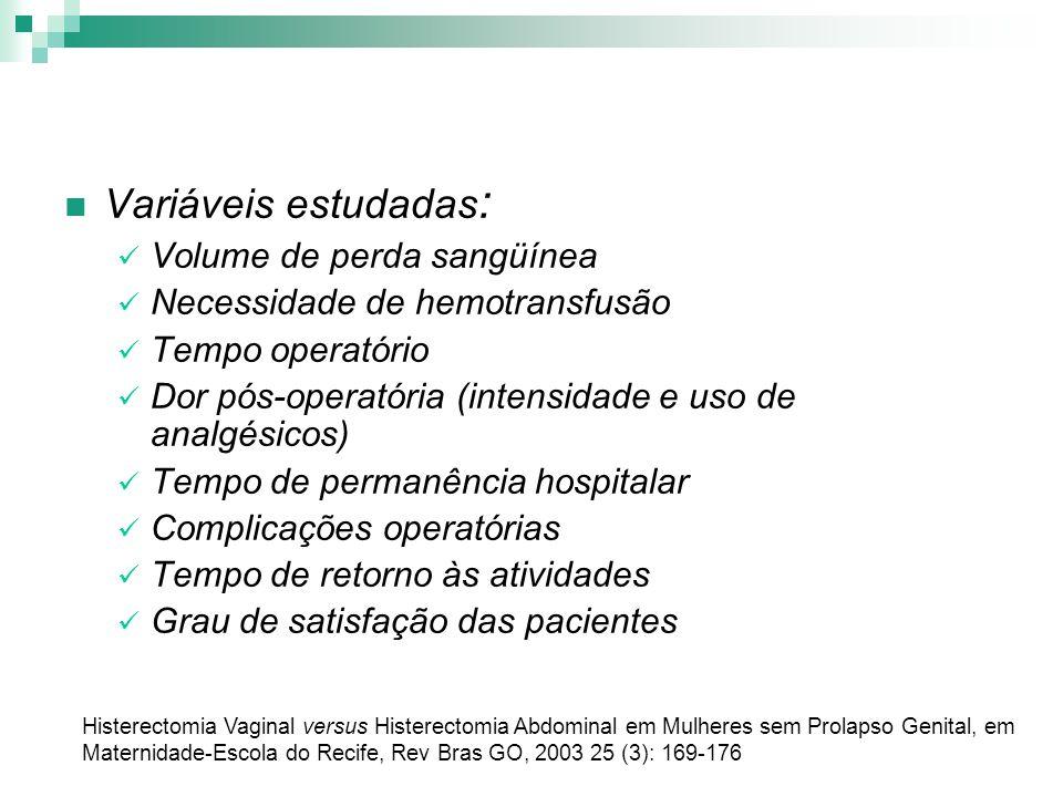 Variáveis estudadas : Volume de perda sangüínea Necessidade de hemotransfusão Tempo operatório Dor pós-operatória (intensidade e uso de analgésicos) T