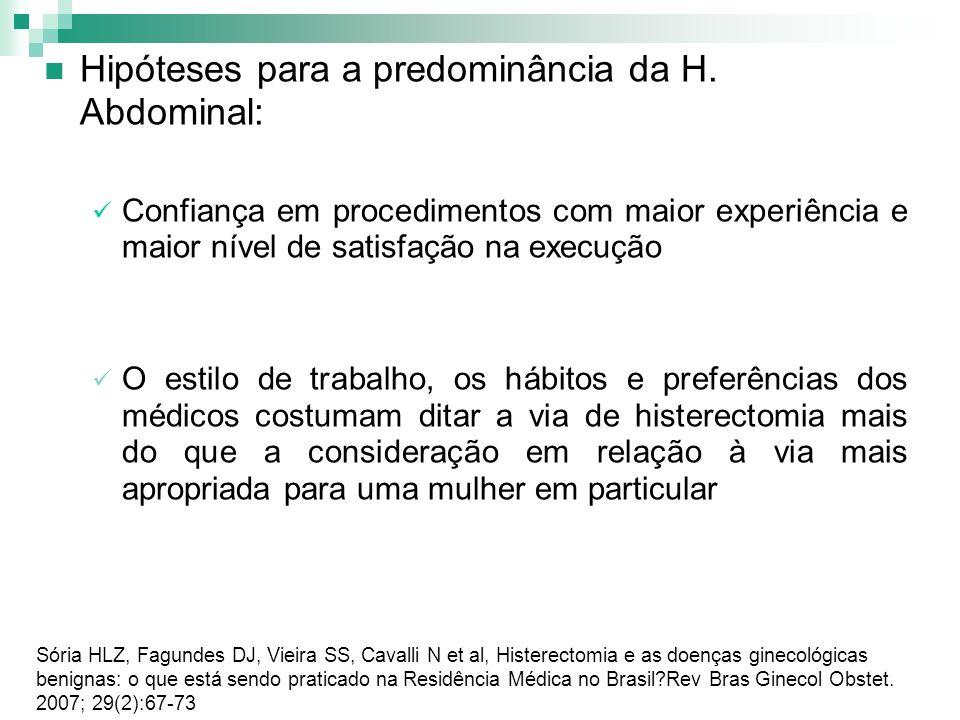 Hipóteses para a predominância da H. Abdominal: Confiança em procedimentos com maior experiência e maior nível de satisfação na execução O estilo de t