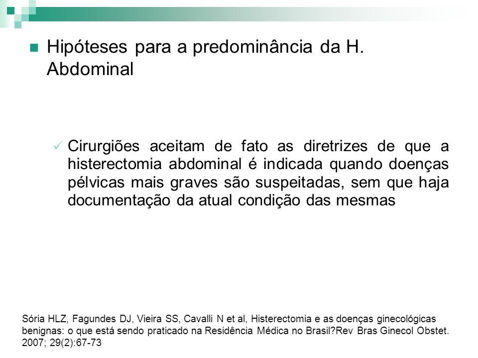 Hipóteses para a predominância da H. Abdominal Cirurgiões aceitam de fato as diretrizes de que a histerectomia abdominal é indicada quando doenças pél