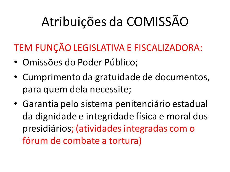 Atribuições da COMISSÃO TEM FUNÇÃO LEGISLATIVA E FISCALIZADORA: Omissões do Poder Público; Cumprimento da gratuidade de documentos, para quem dela nec