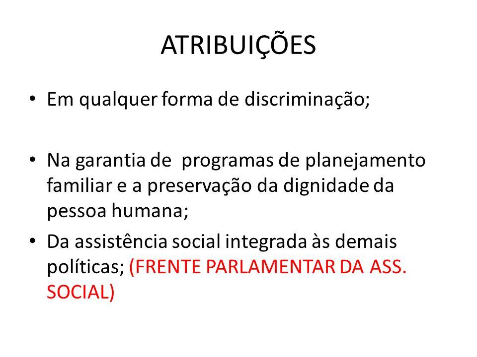 ATRIBUIÇÕES Em qualquer forma de discriminação; Na garantia de programas de planejamento familiar e a preservação da dignidade da pessoa humana; Da assistência social integrada às demais políticas; (FRENTE PARLAMENTAR DA ASS.