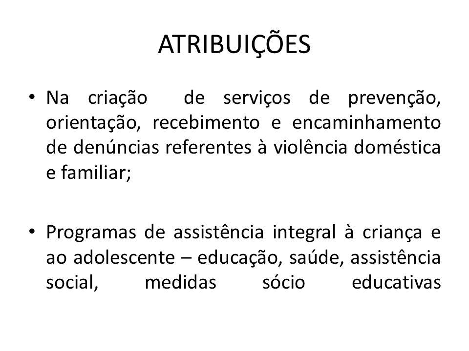 ATRIBUIÇÕES Na criação de serviços de prevenção, orientação, recebimento e encaminhamento de denúncias referentes à violência doméstica e familiar; Pr
