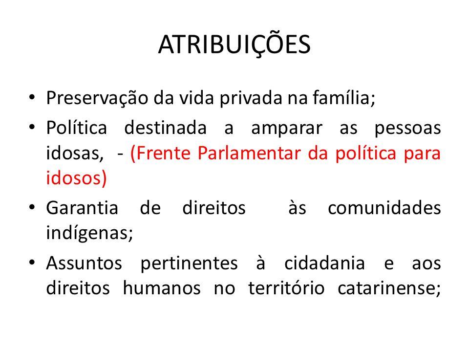 ATRIBUIÇÕES Preservação da vida privada na família; Política destinada a amparar as pessoas idosas, - (Frente Parlamentar da política para idosos) Gar