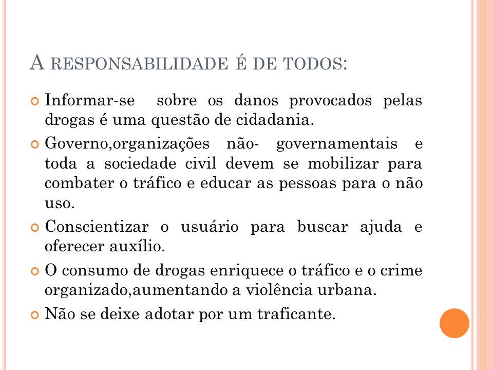 A RESPONSABILIDADE É DE TODOS : Informar-se sobre os danos provocados pelas drogas é uma questão de cidadania.