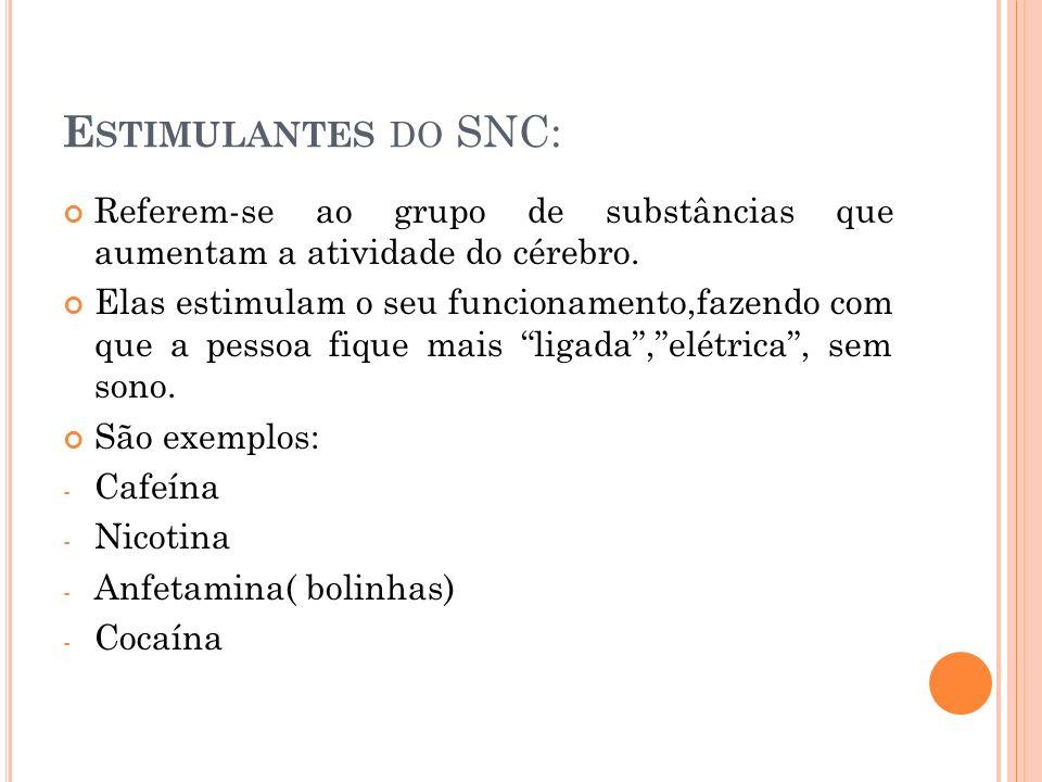E STIMULANTES DO SNC: Referem-se ao grupo de substâncias que aumentam a atividade do cérebro.