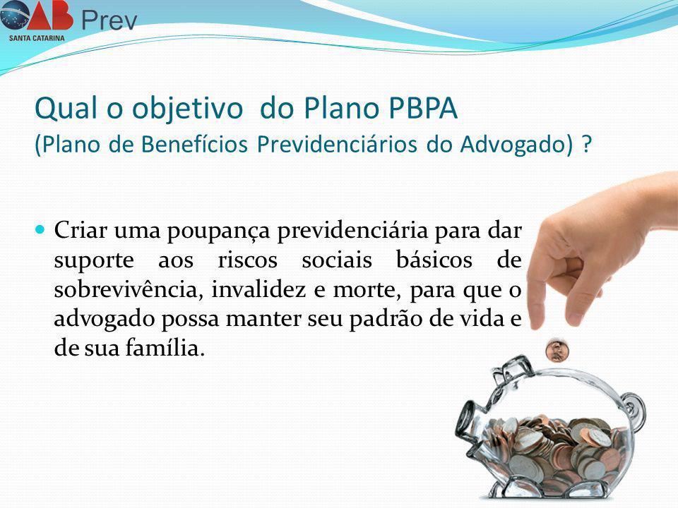 Qual o objetivo do Plano PBPA (Plano de Benefícios Previdenciários do Advogado) ? Criar uma poupança previdenciária para dar suporte aos riscos sociai