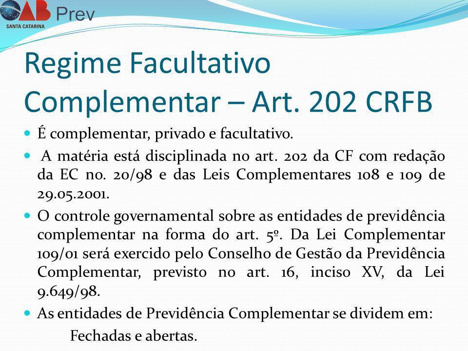 Regime Facultativo Complementar – Art. 202 CRFB É complementar, privado e facultativo. A matéria está disciplinada no art. 202 da CF com redação da EC