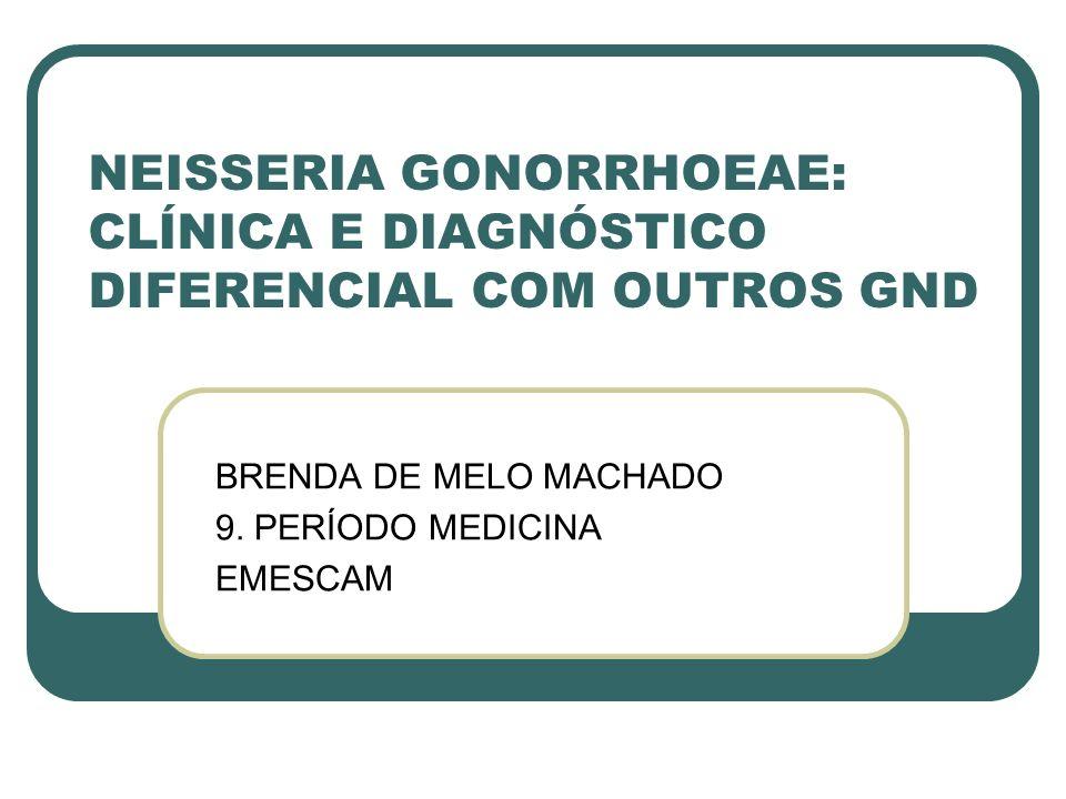 NEISSERIA GONORRHOEAE: CLÍNICA E DIAGNÓSTICO DIFERENCIAL COM OUTROS GND BRENDA DE MELO MACHADO 9. PERÍODO MEDICINA EMESCAM
