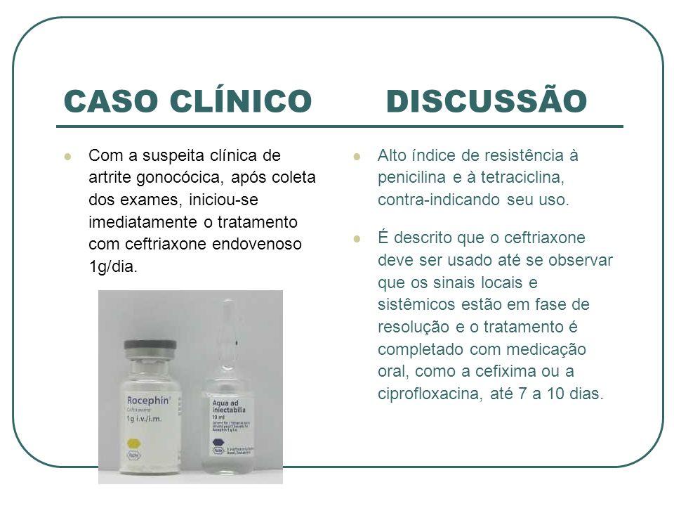 CASO CLÍNICO DISCUSSÃO Com a suspeita clínica de artrite gonocócica, após coleta dos exames, iniciou-se imediatamente o tratamento com ceftriaxone end