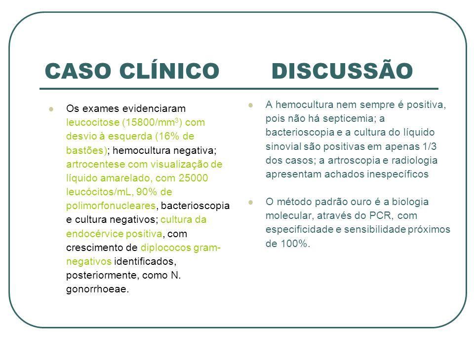 CASO CLÍNICO DISCUSSÃO Os exames evidenciaram leucocitose (15800/mm 3 ) com desvio à esquerda (16% de bastões); hemocultura negativa; artrocentese com