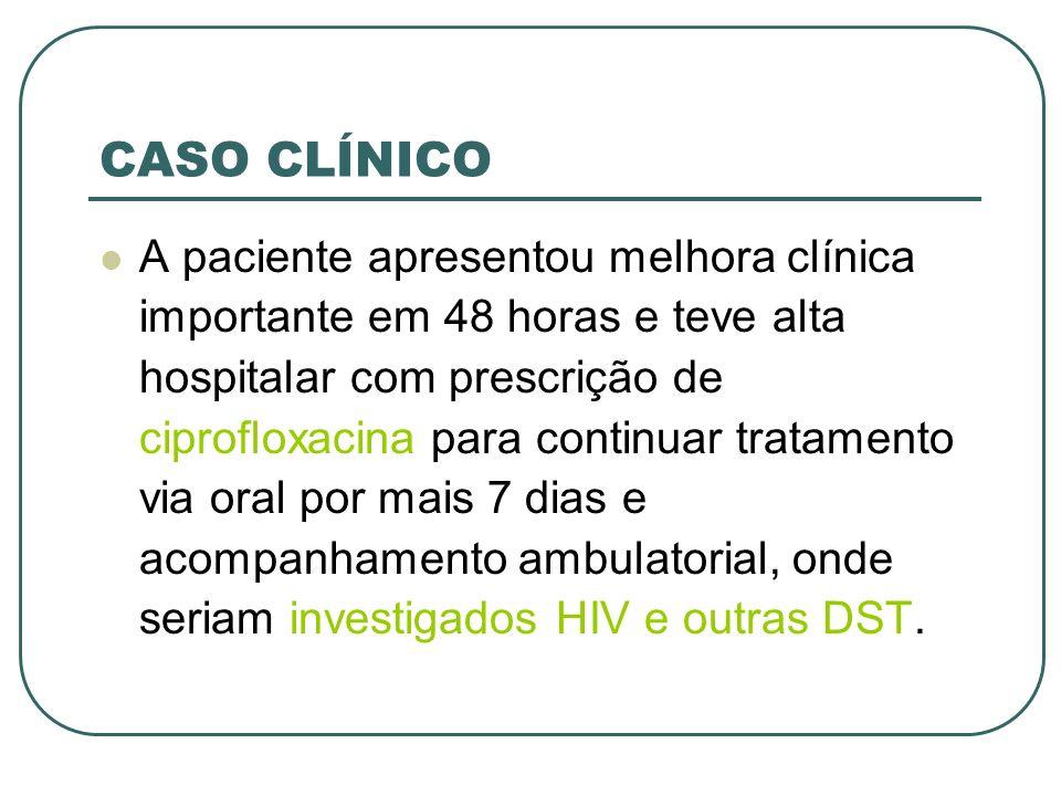 CASO CLÍNICO A paciente apresentou melhora clínica importante em 48 horas e teve alta hospitalar com prescrição de ciprofloxacina para continuar trata