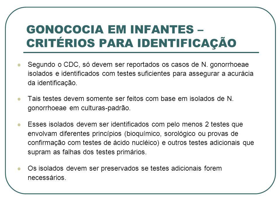 GONOCOCIA EM INFANTES – CRITÉRIOS PARA IDENTIFICAÇÃO Segundo o CDC, só devem ser reportados os casos de N. gonorrhoeae isolados e identificados com te