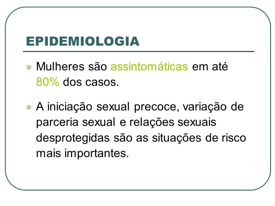 EPIDEMIOLOGIA Mulheres são assintomáticas em até 80% dos casos. A iniciação sexual precoce, variação de parceria sexual e relações sexuais desprotegid
