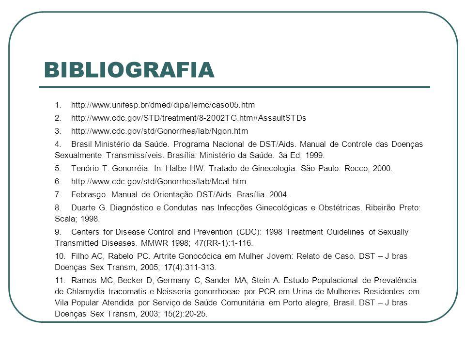BIBLIOGRAFIA 1.http://www.unifesp.br/dmed/dipa/lemc/caso05.htm 2.http://www.cdc.gov/STD/treatment/8-2002TG.htm#AssaultSTDs 3.http://www.cdc.gov/std/Go