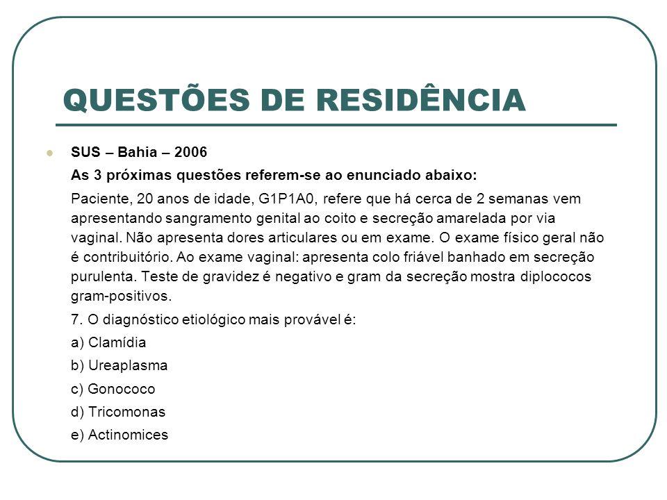 QUESTÕES DE RESIDÊNCIA SUS – Bahia – 2006 As 3 próximas questões referem-se ao enunciado abaixo: Paciente, 20 anos de idade, G1P1A0, refere que há cer