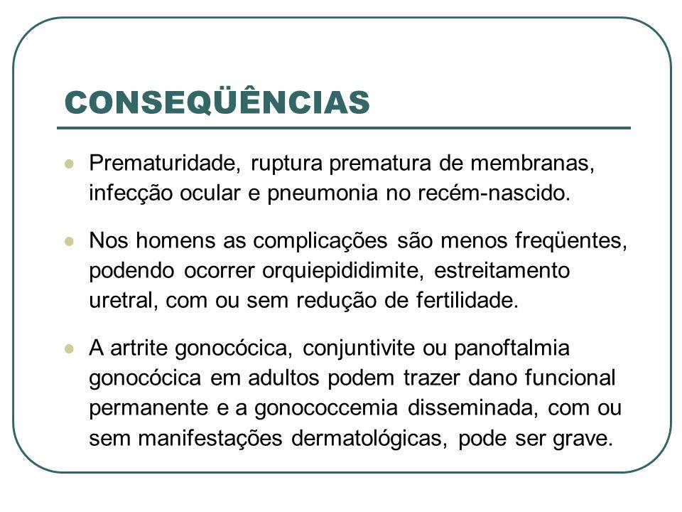 CONSEQÜÊNCIAS Prematuridade, ruptura prematura de membranas, infecção ocular e pneumonia no recém-nascido. Nos homens as complicações são menos freqüe