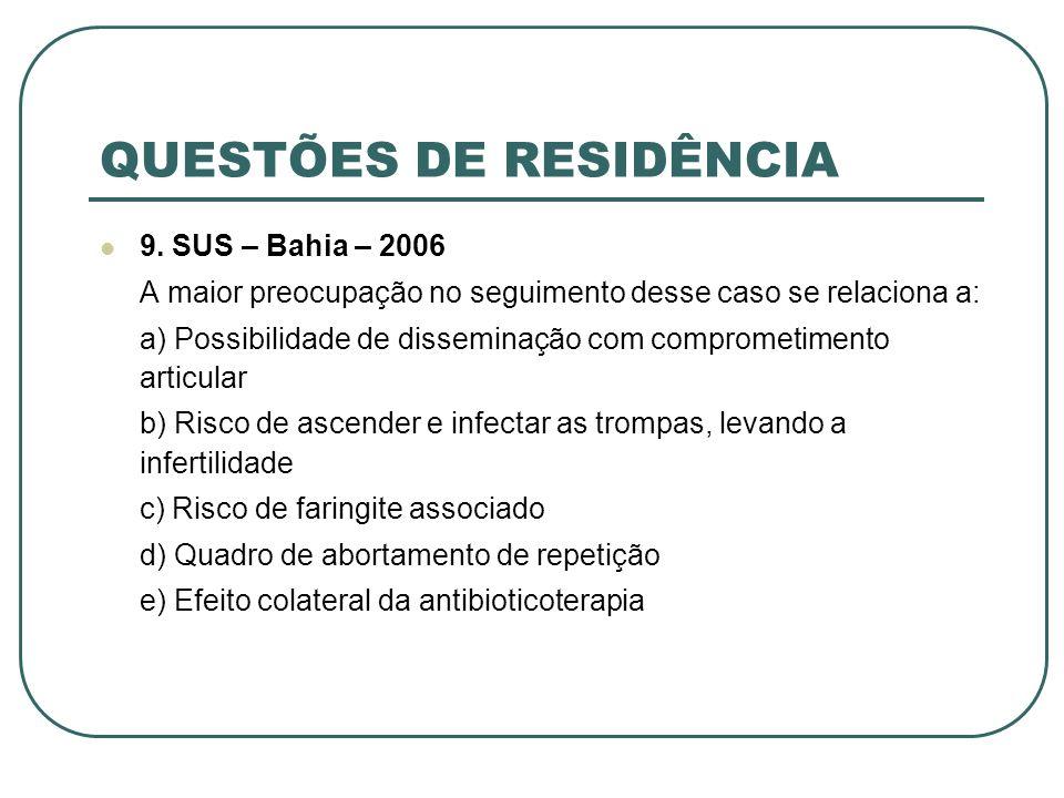 QUESTÕES DE RESIDÊNCIA 9. SUS – Bahia – 2006 A maior preocupação no seguimento desse caso se relaciona a: a) Possibilidade de disseminação com comprom