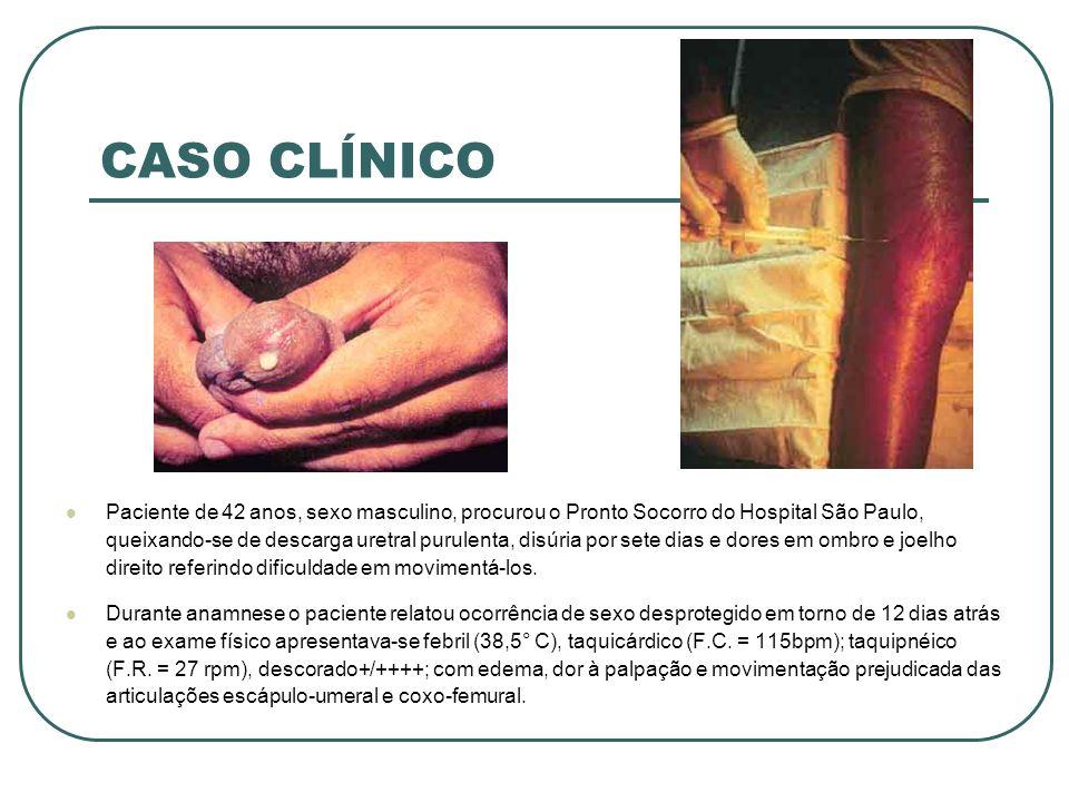 CASO CLÍNICO RESULTADOS Feita a hipótese diagnóstica, foram solicitados exames laboratoriais, incluindo hemograma, hemocultura, coloração de Gram e cultura dos líquidos sinoviais das articulações e secreção uretral.