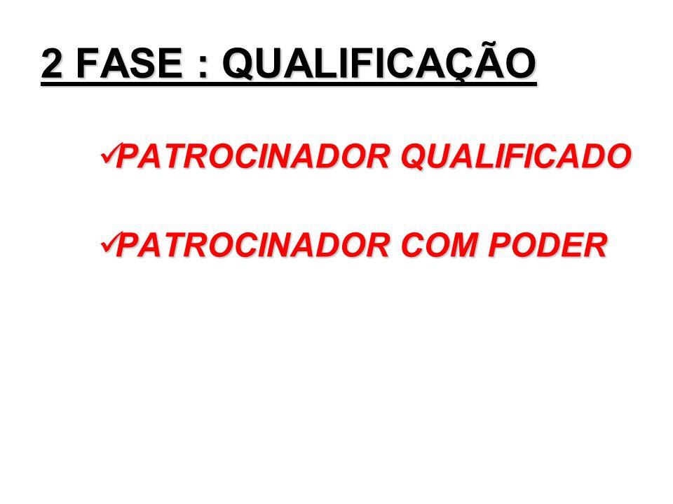 2 FASE : QUALIFICAÇÃO PATROCINADOR QUALIFICADO PATROCINADOR QUALIFICADO PATROCINADOR COM PODER PATROCINADOR COM PODER