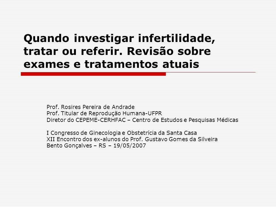 Quando investigar infertilidade, tratar ou referir. Revisão sobre exames e tratamentos atuais Prof. Rosires Pereira de Andrade Prof. Titular de Reprod