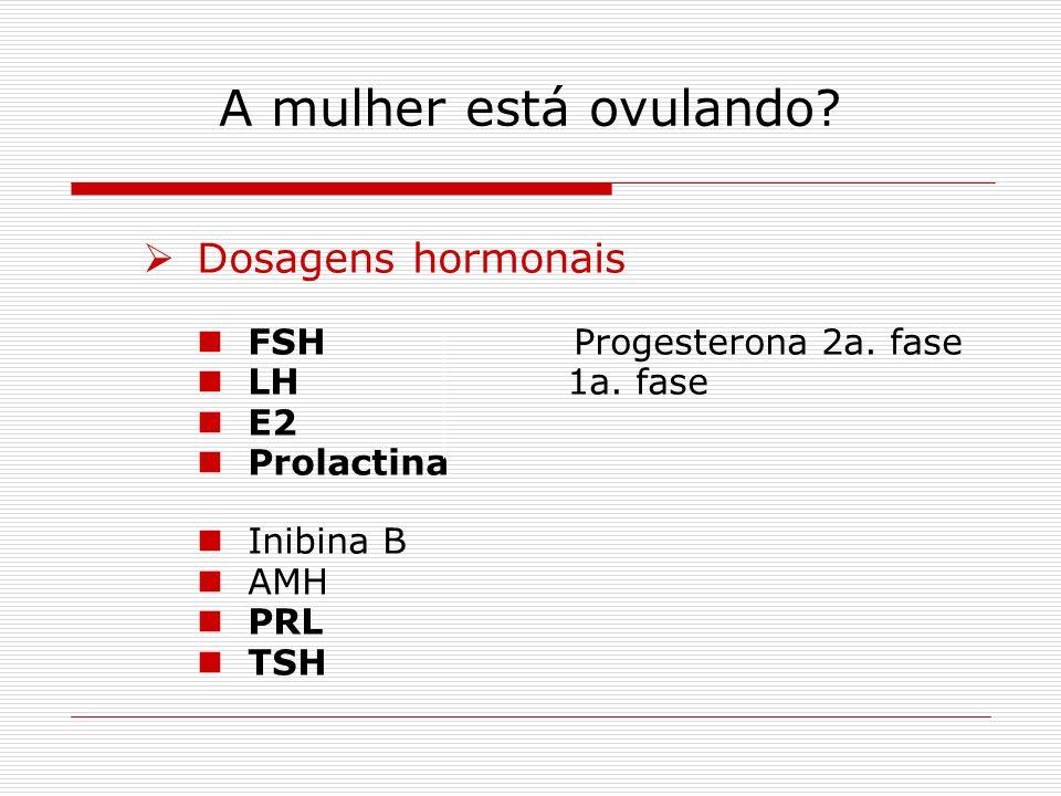 A mulher está ovulando? Dosagens hormonais FSH Progesterona 2a. fase LH 1a. fase E2 Prolactina Inibina B AMH PRL TSH