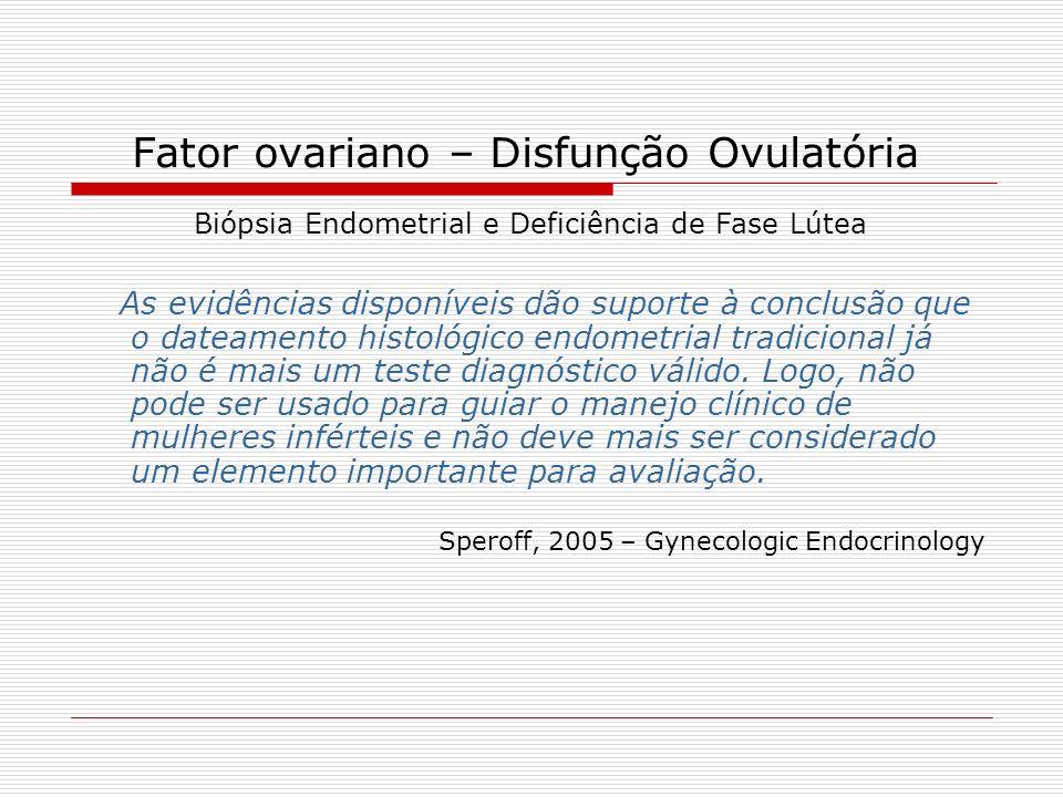 Fator ovariano – Disfunção Ovulatória Biópsia Endometrial e Deficiência de Fase Lútea As evidências disponíveis dão suporte à conclusão que o dateamen
