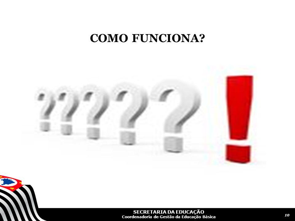 SECRETARIA DA EDUCAÇÃO Coordenadoria de Gestão da Educação Básica COMO FUNCIONA? 10