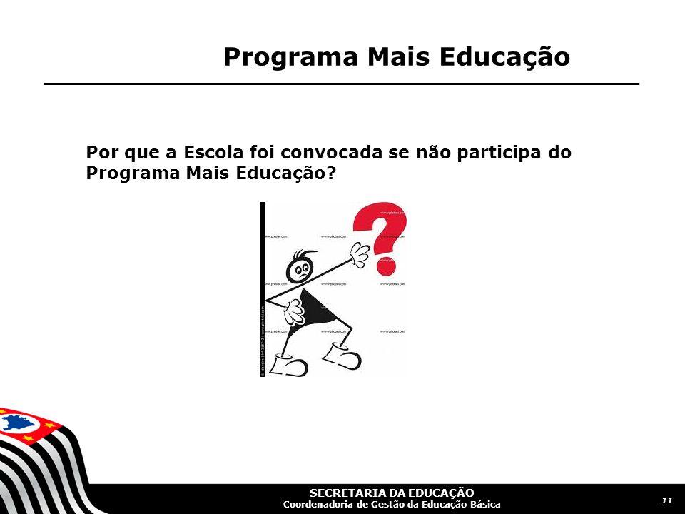 SECRETARIA DA EDUCAÇÃO Coordenadoria de Gestão da Educação Básica Programa Mais Educação Por que a Escola foi convocada se não participa do Programa M