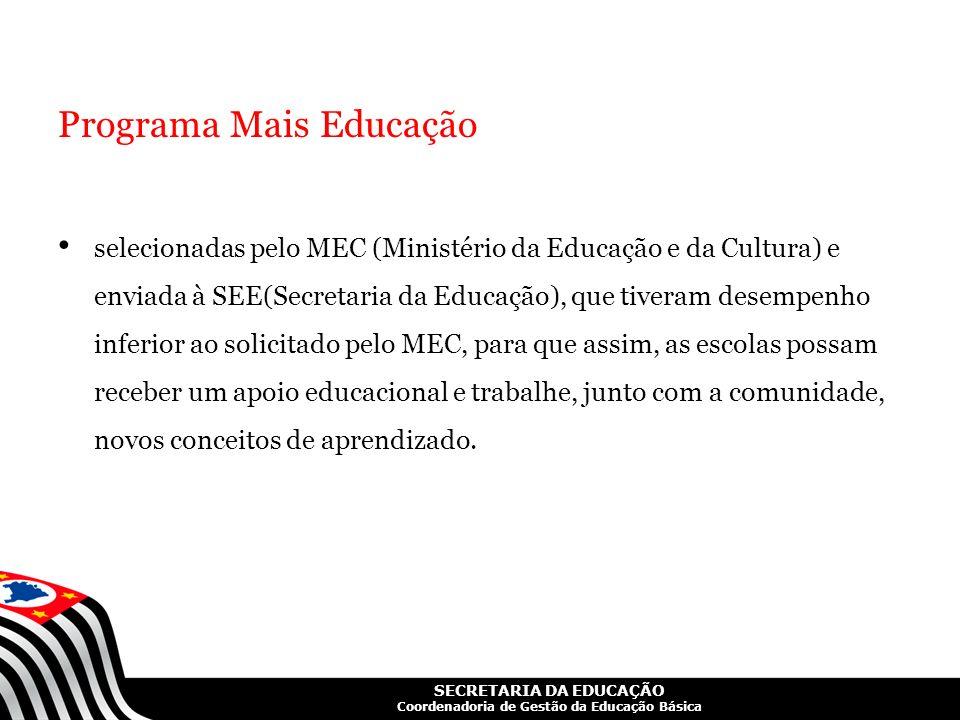 SECRETARIA DA EDUCAÇÃO Coordenadoria de Gestão da Educação Básica Programa Mais Educação selecionadas pelo MEC (Ministério da Educação e da Cultura) e