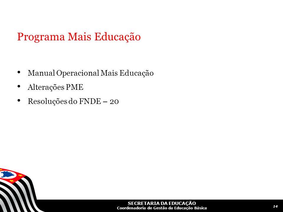 SECRETARIA DA EDUCAÇÃO Coordenadoria de Gestão da Educação Básica Programa Mais Educação Manual Operacional Mais Educação Alterações PME Resoluções do