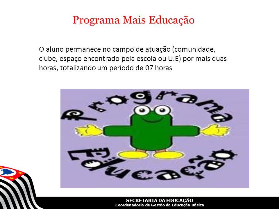 SECRETARIA DA EDUCAÇÃO Coordenadoria de Gestão da Educação Básica Programa Mais Educação O aluno permanece no campo de atuação (comunidade, clube, esp