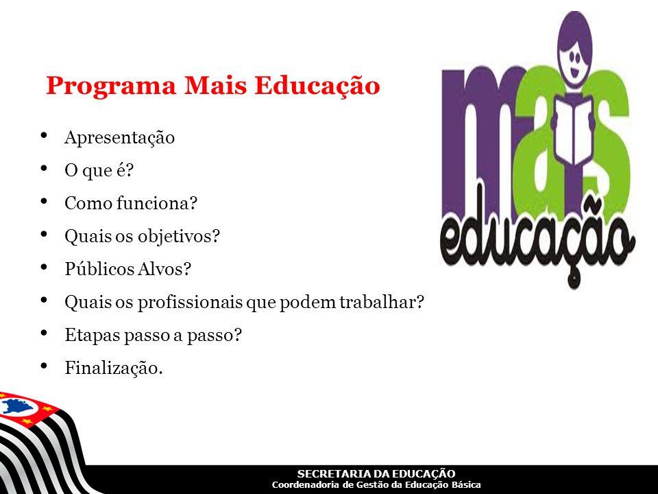 SECRETARIA DA EDUCAÇÃO Coordenadoria de Gestão da Educação Básica Programa Mais Educação Apresentação O que é? Como funciona? Quais os objetivos? Públ