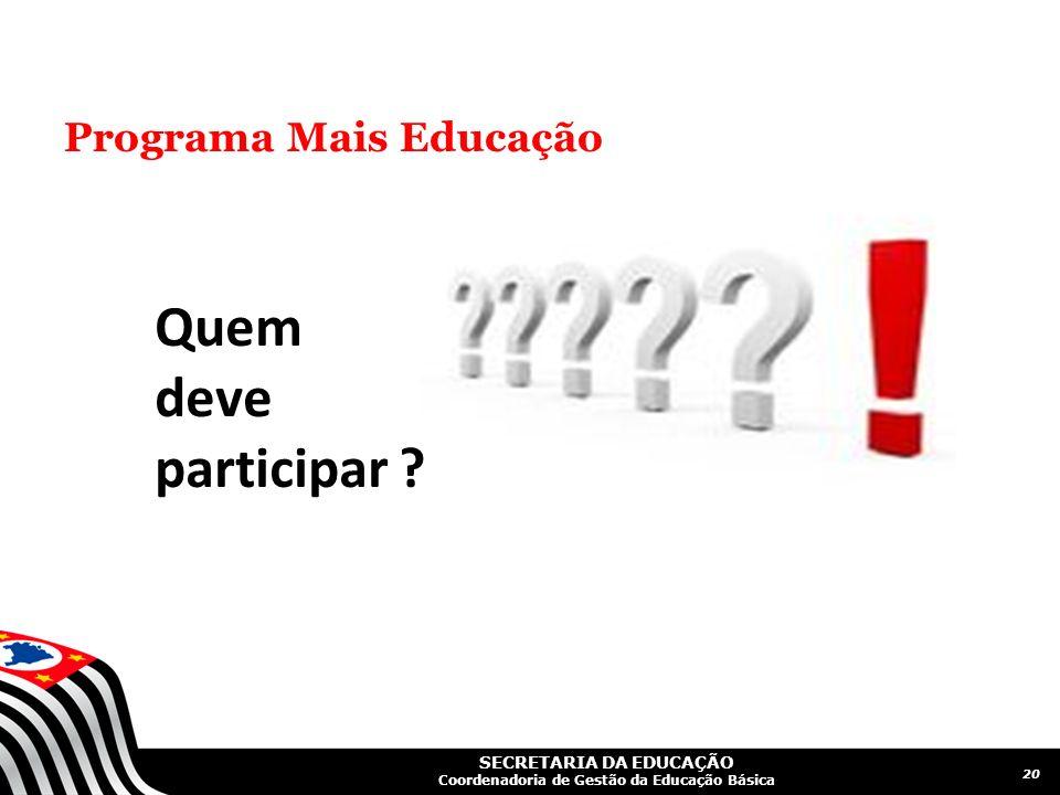SECRETARIA DA EDUCAÇÃO Coordenadoria de Gestão da Educação Básica Programa Mais Educação 20 Quem deve participar ?