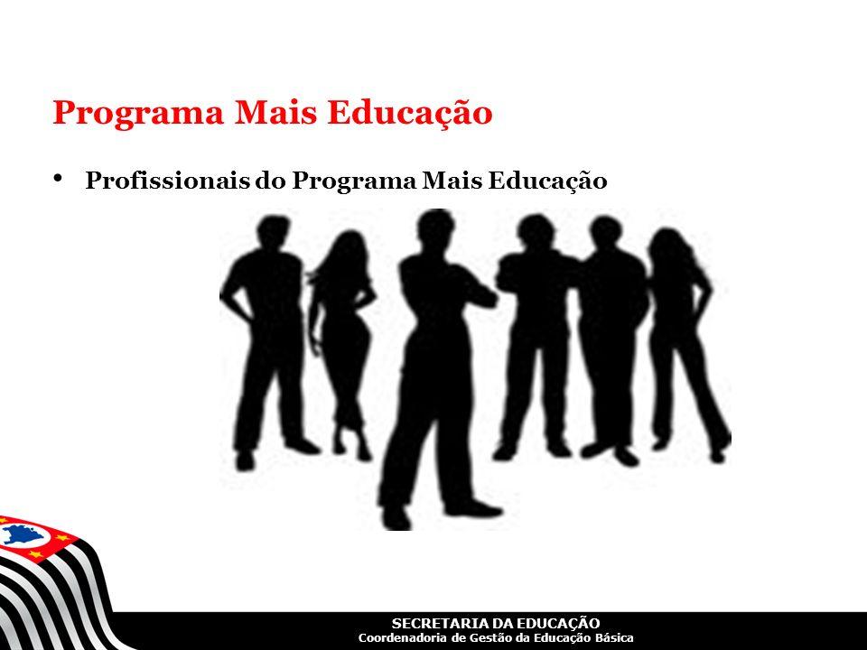 SECRETARIA DA EDUCAÇÃO Coordenadoria de Gestão da Educação Básica Programa Mais Educação Profissionais do Programa Mais Educação