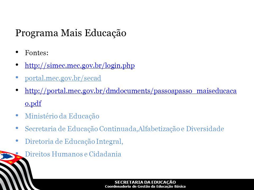 SECRETARIA DA EDUCAÇÃO Coordenadoria de Gestão da Educação Básica Programa Mais Educação Fontes: http://simec.mec.gov.br/login.php portal.mec.gov.br/s