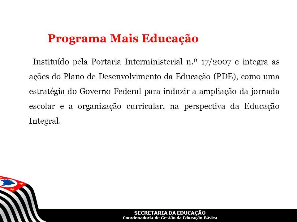 SECRETARIA DA EDUCAÇÃO Coordenadoria de Gestão da Educação Básica Programa Mais Educação Instituído pela Portaria Interministerial n.º 17/2007 e integ
